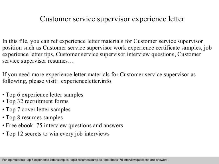 cover letter customer service supervisor - Josemulinohouse - customer service supervisor resume sample