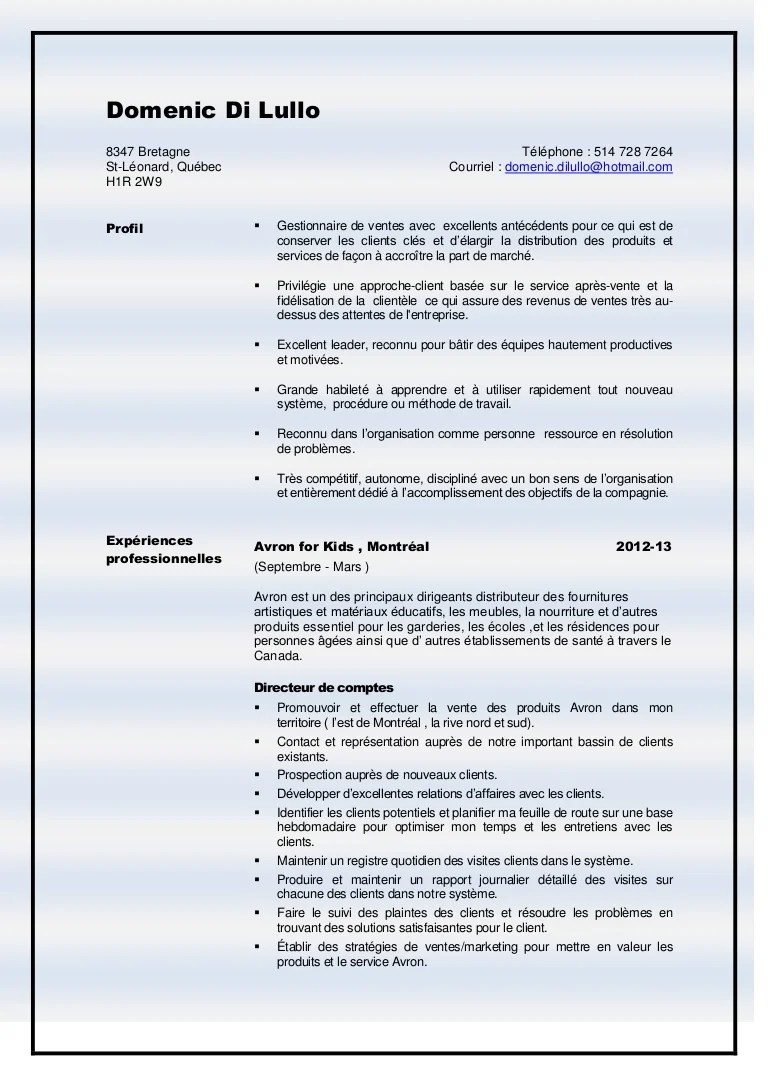cv exemple chef de service educatif