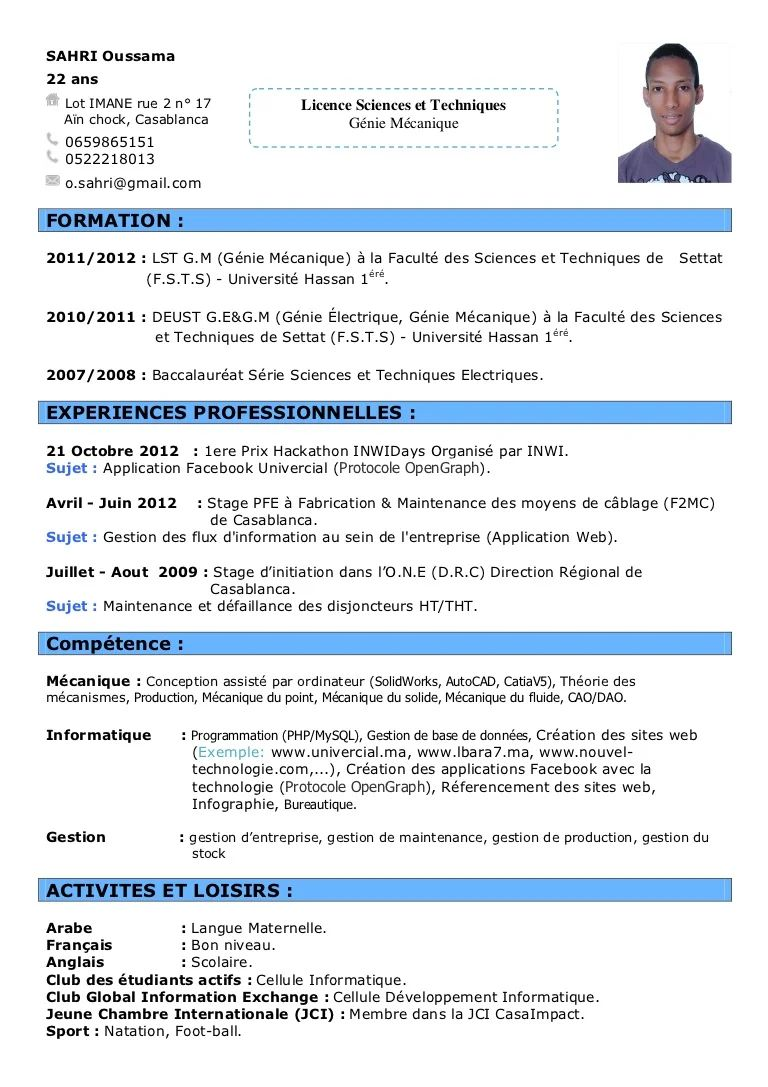 exemple de cv genie mecanique