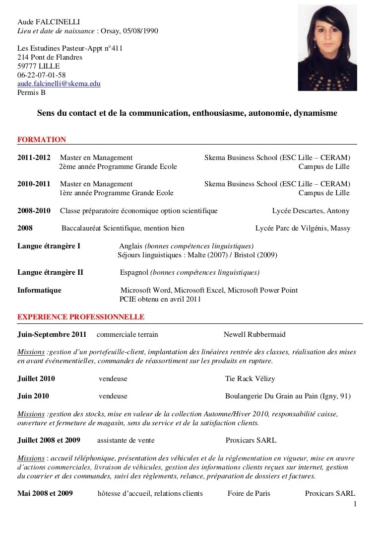 mail cv exemple
