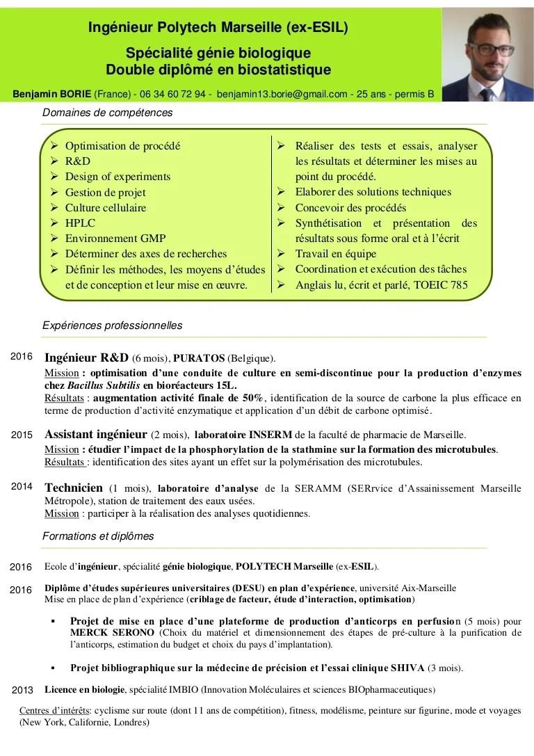 cv biotechnologie