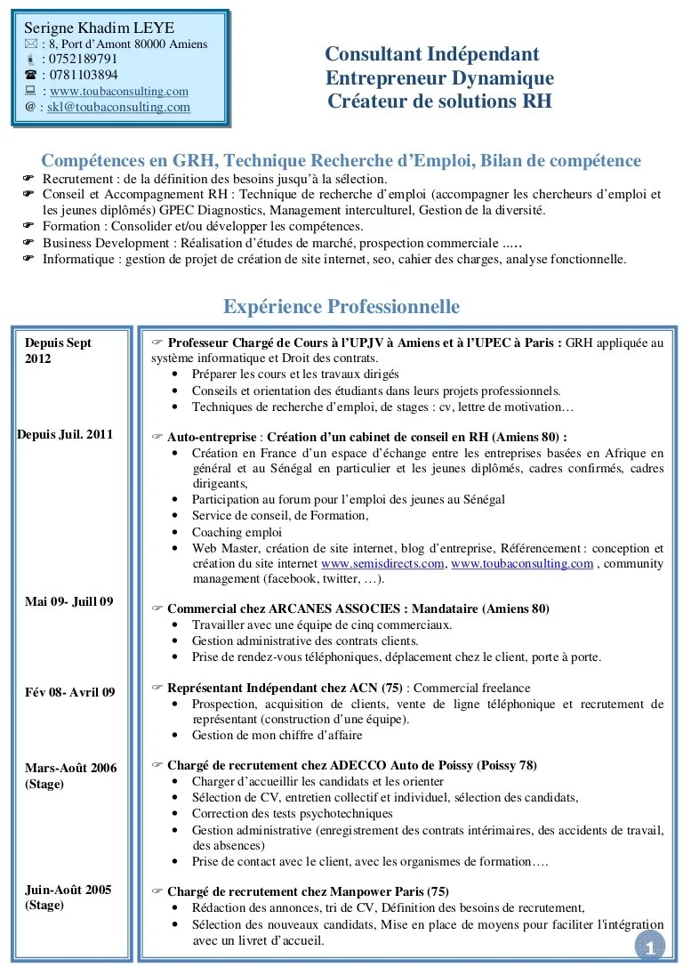 exemple cv chargee de recrutement