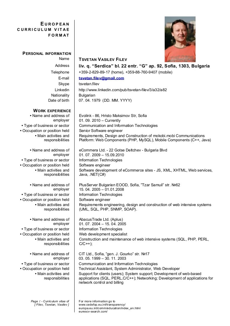 cv europass doc download italiano