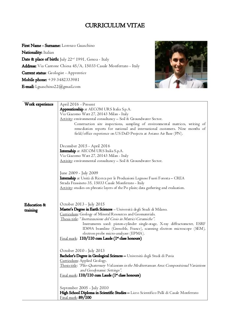 scientific cv english