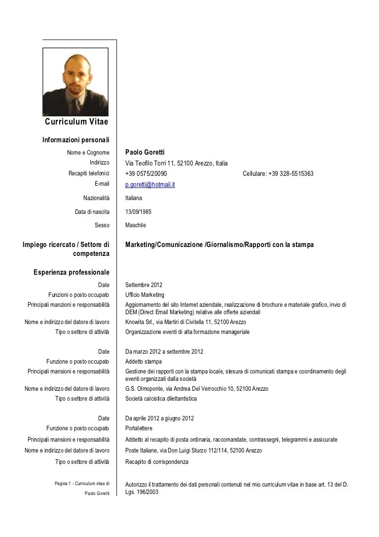 cv europeo italiano download