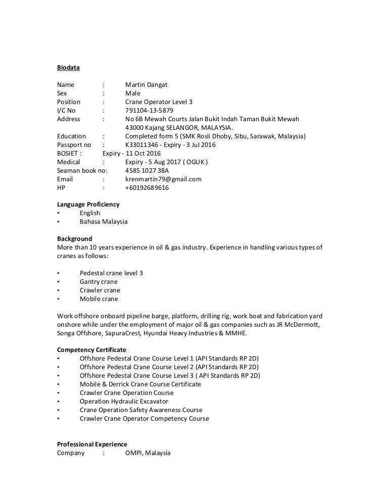 Overhead Crane Operator Resume gantry crane operator sample resume - Drill Rig Operator Sample Resume