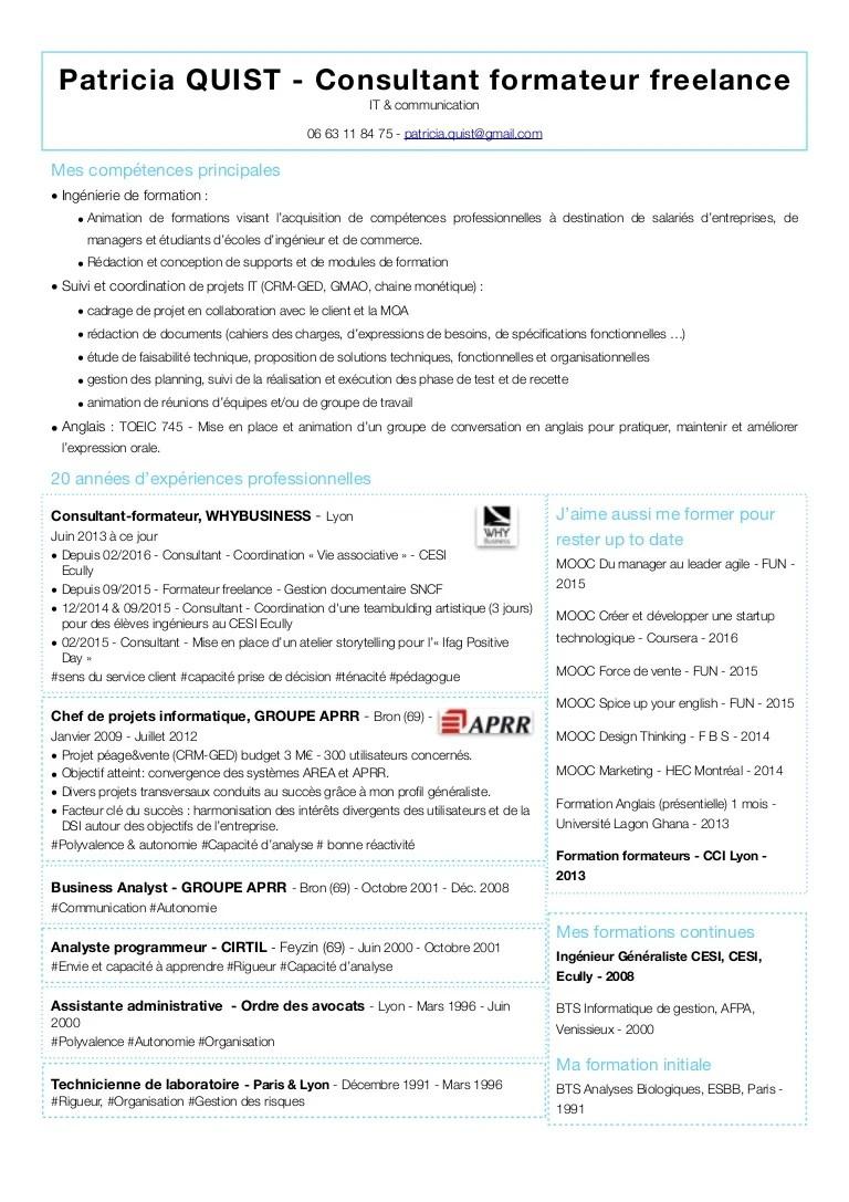 exemple cv freelance