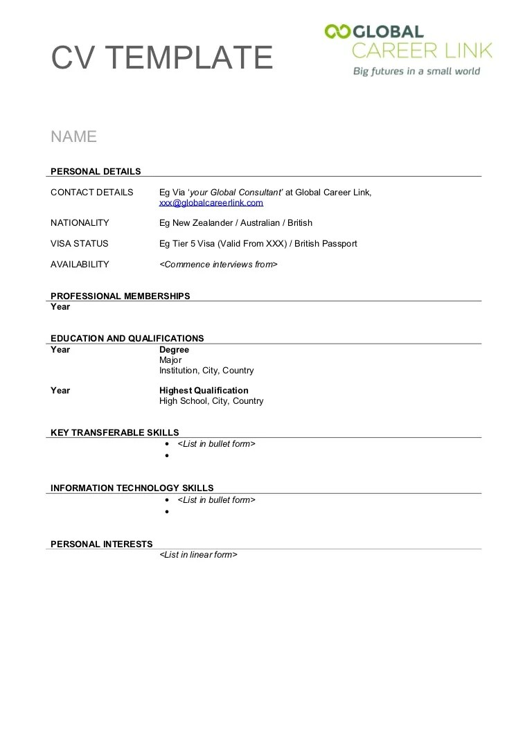template for british cv