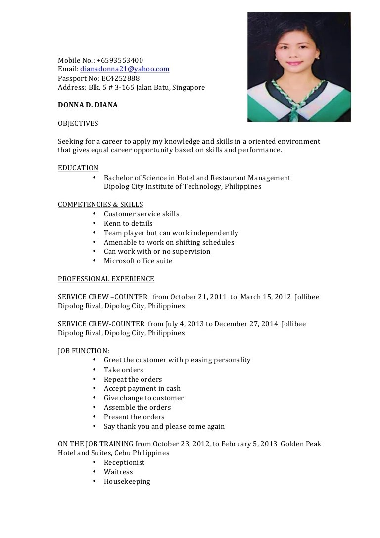 resume personal background sample