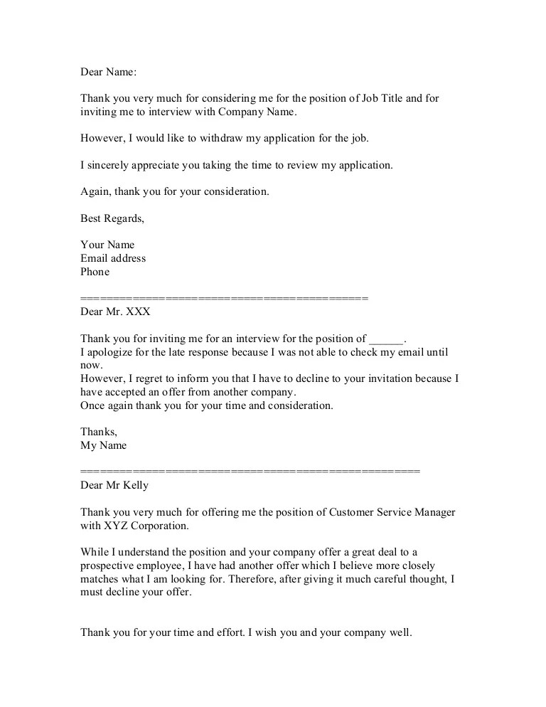 turning down job offer - Goalgoodwinmetals - decline offer letter