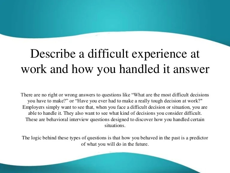 difficult situation interview question