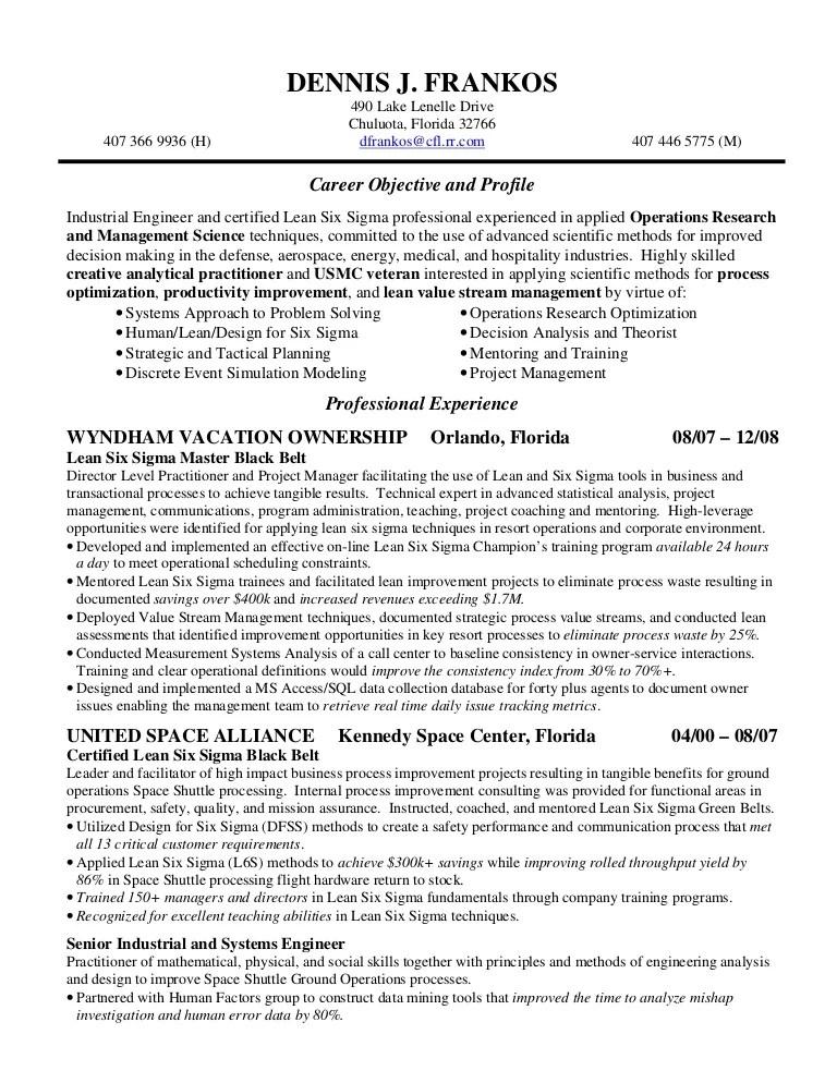six sigma black belt resume - Doritmercatodos - six sigma resume