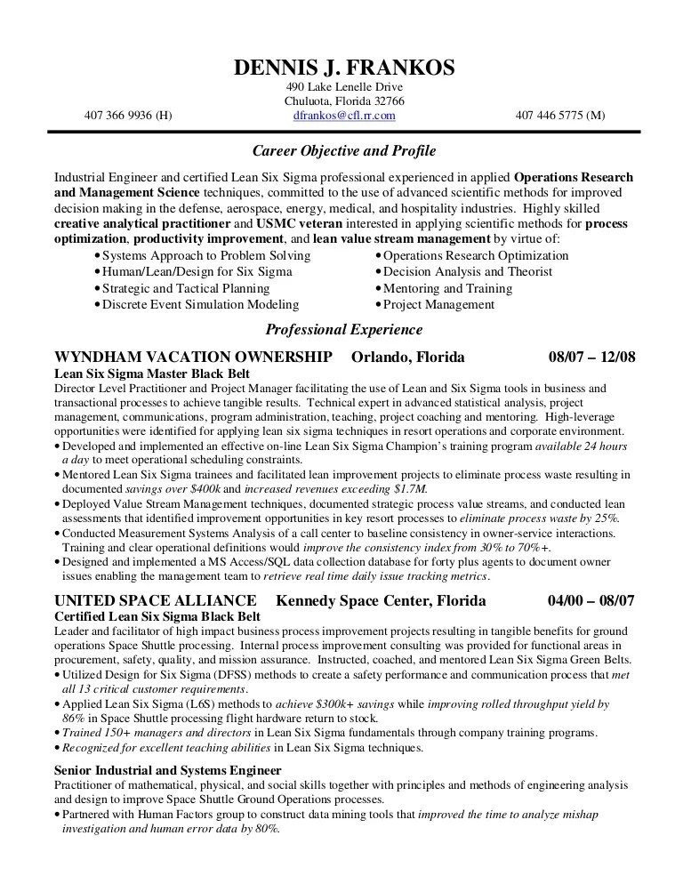 six sigma resume - Doritmercatodos