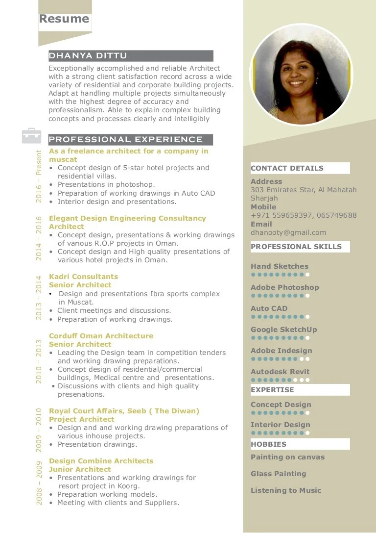 Linked In Resume Architect Dhanya - Resume