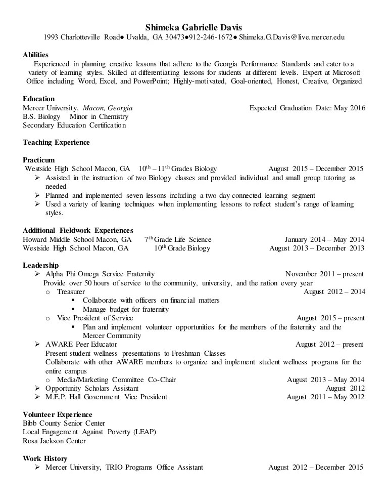 example resume for kindergarten teacher
