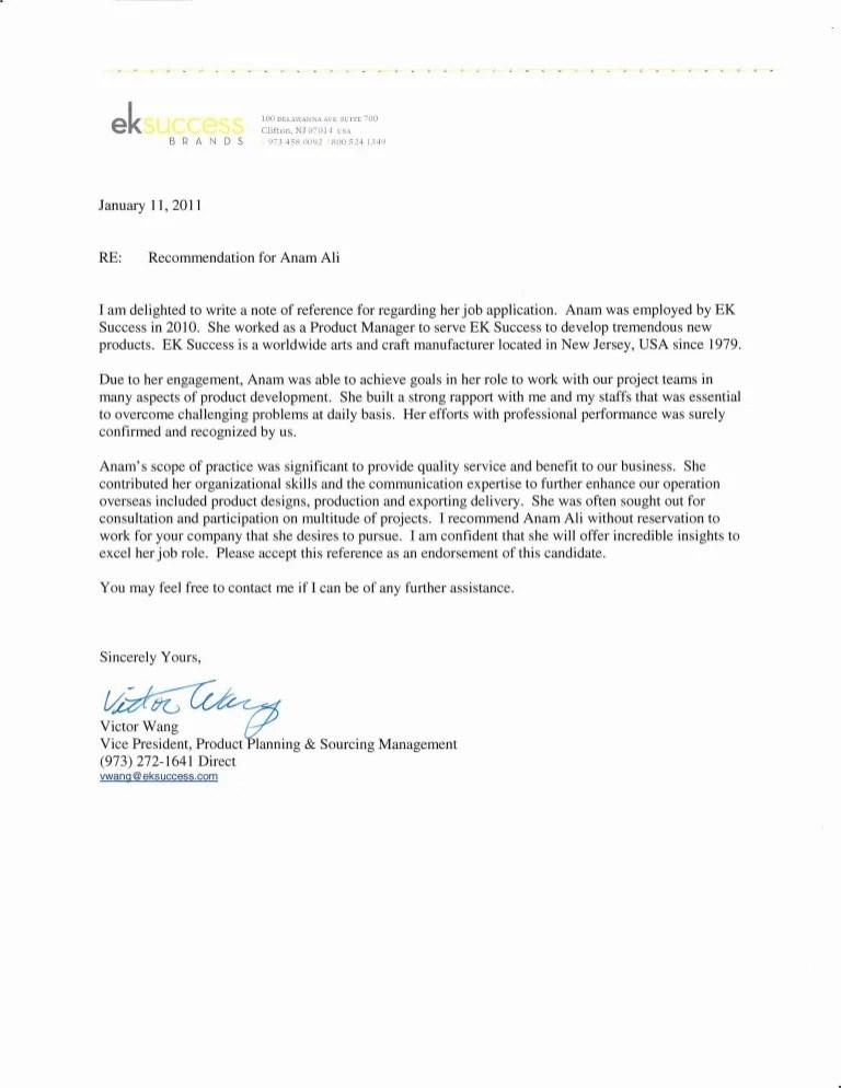 recommendation letter for supervisor