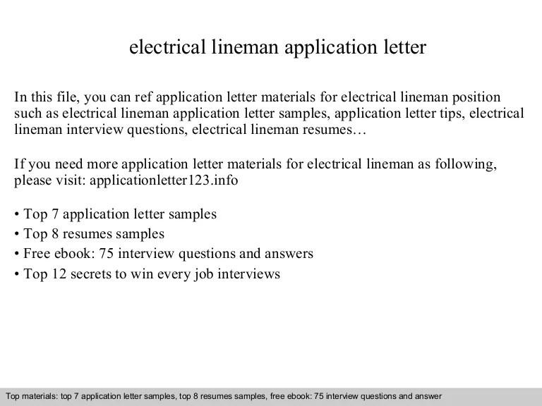 lineman cover letter - Ozilalmanoof