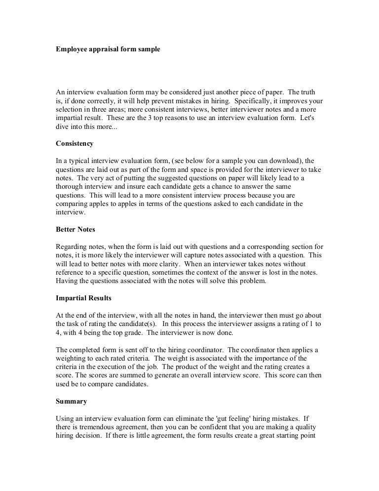 appraisal form answers - Hunthankk