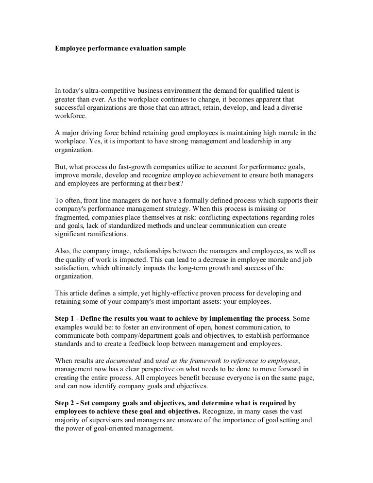 employee evaluation form examples - Josemulinohouse