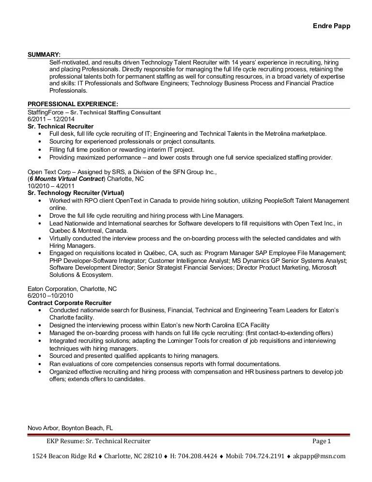 recruiter resume summary - Josemulinohouse - it recruiter resume