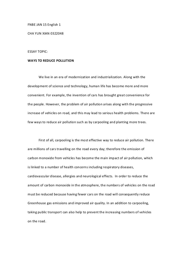 How To Reduse Pollution Elg 30505 Essay 1 Ways To Reduce Pollution
