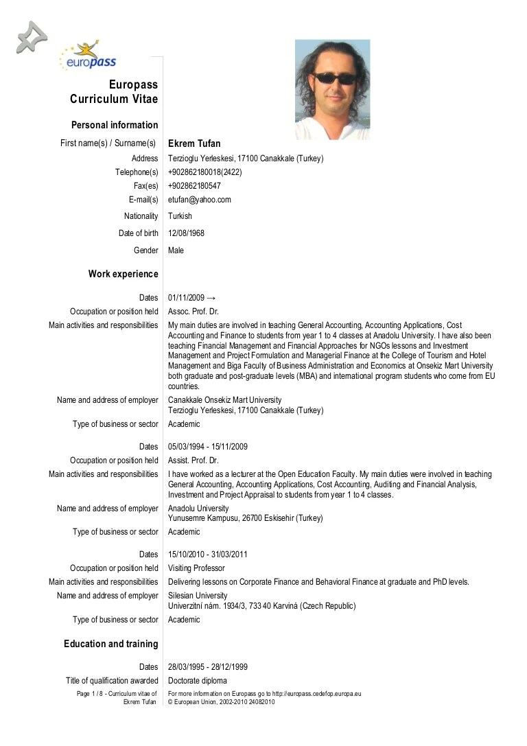 europass cv example teacher