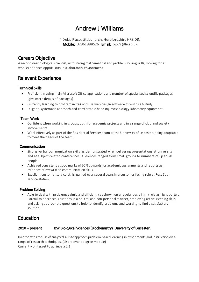 interests cv exemples