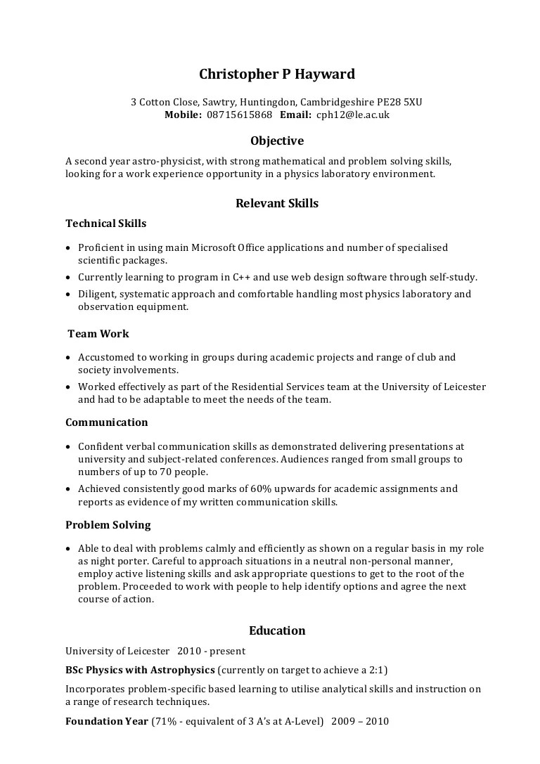 profile description english cv