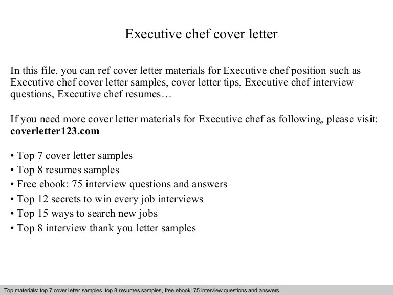 executive chef cover letter samples - Onwebioinnovate