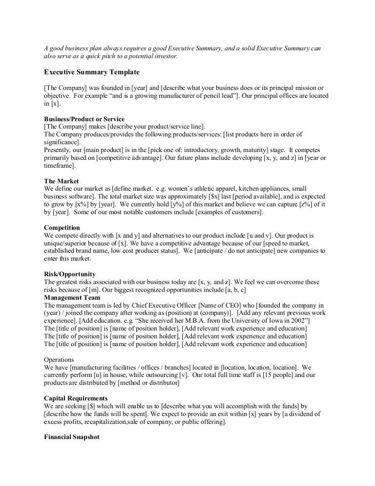 good executive summary example - Boatjeremyeaton - example of good executive summary