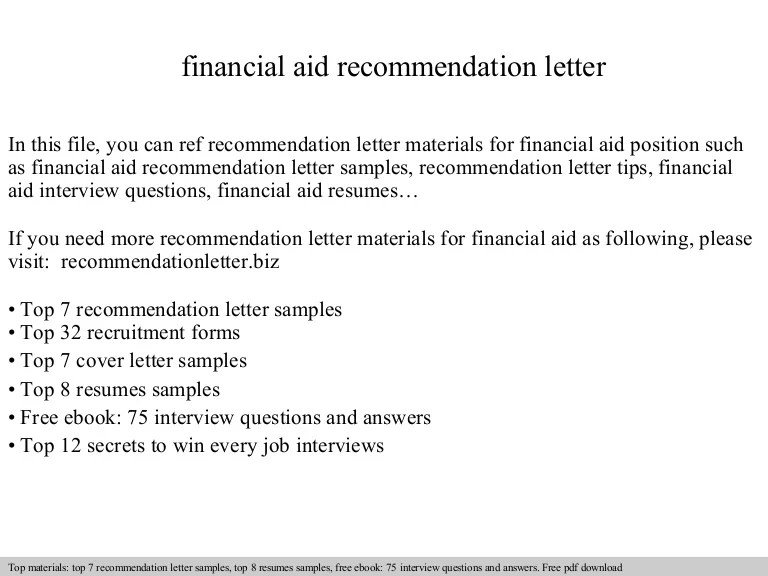 cover letter for financial aid - Ozilalmanoof