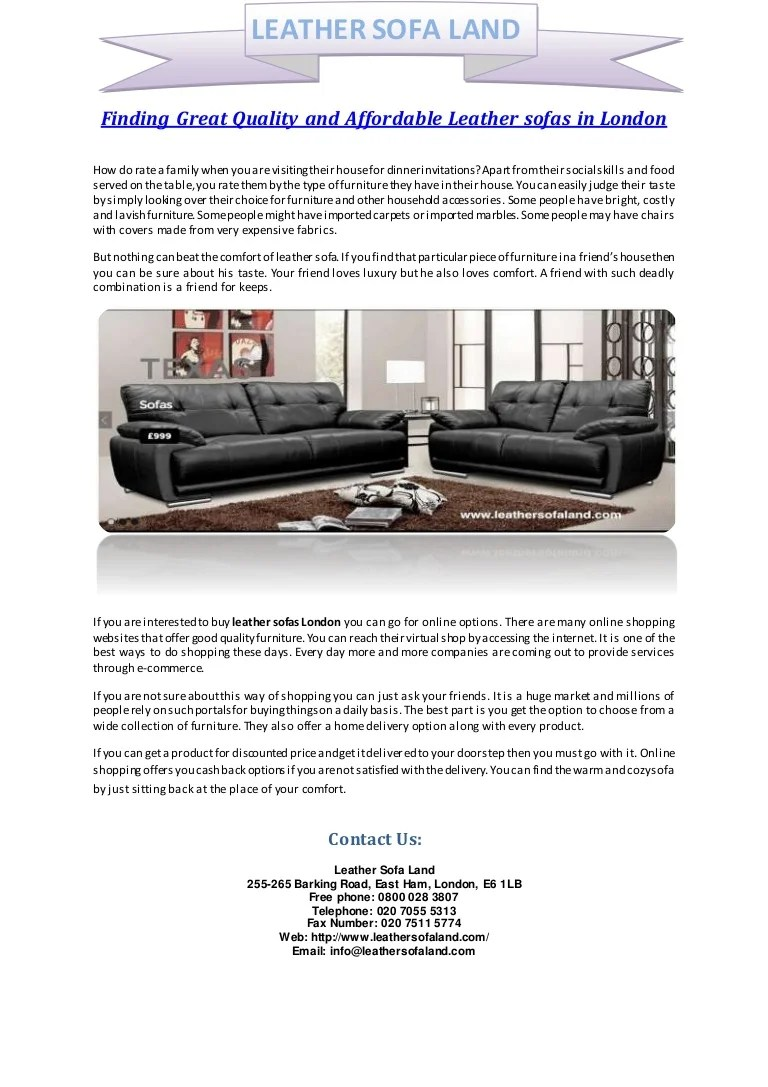 Finding Great Quality And Affordable Leather Sofas In London
