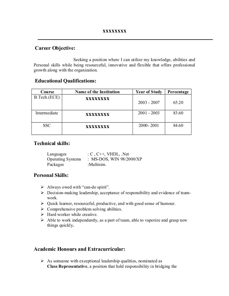 resume format lecturer
