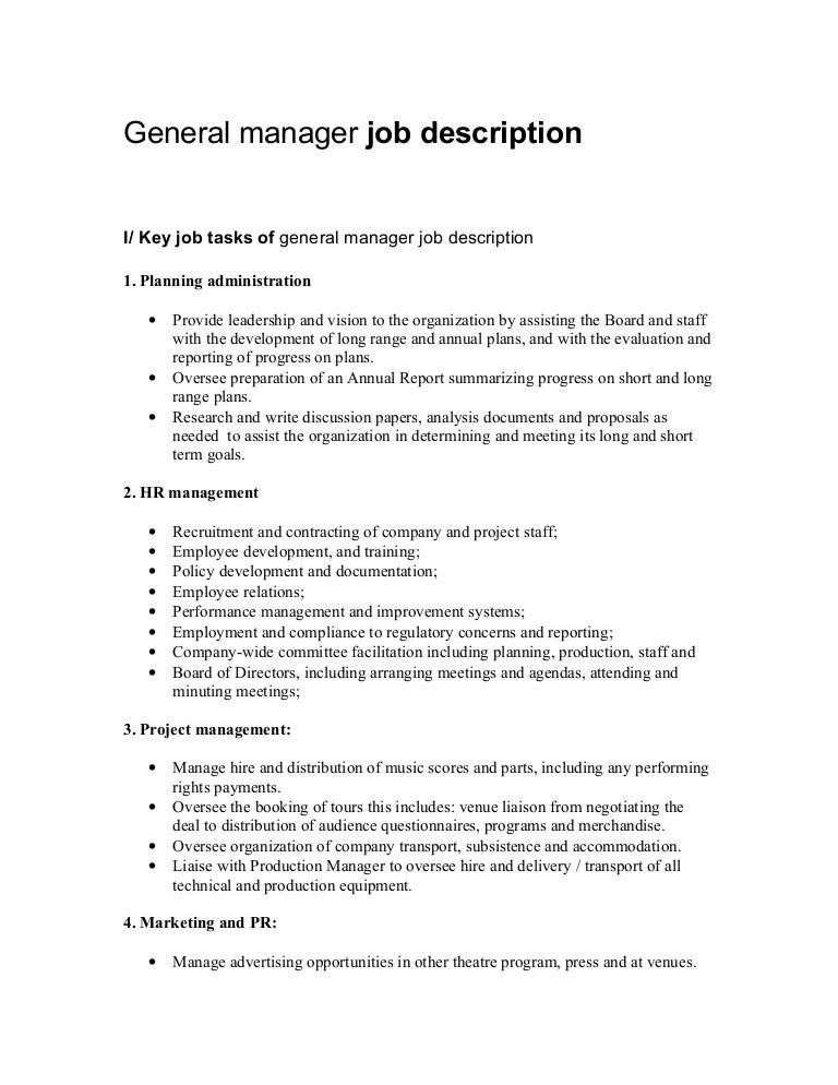 job description general manager resume