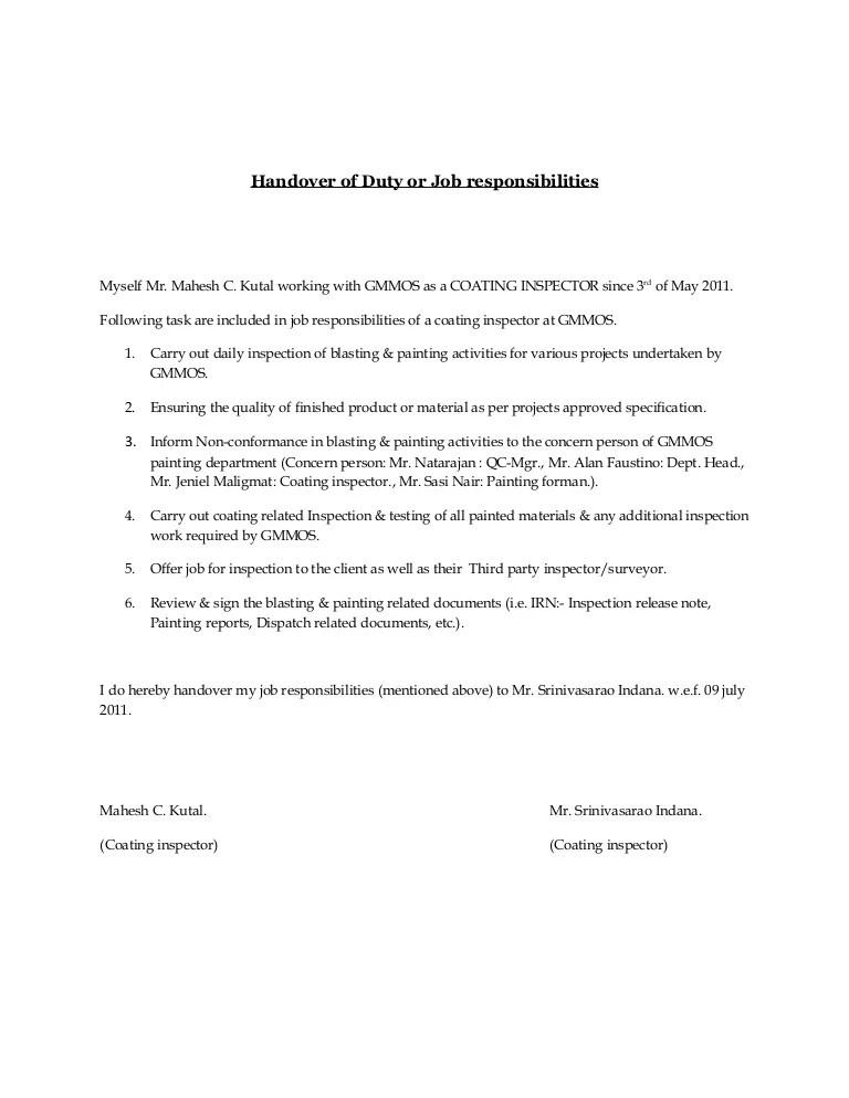 handover note sample - Towerssconstruction