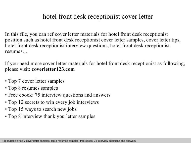cover letter for hotel receptionist - Josemulinohouse