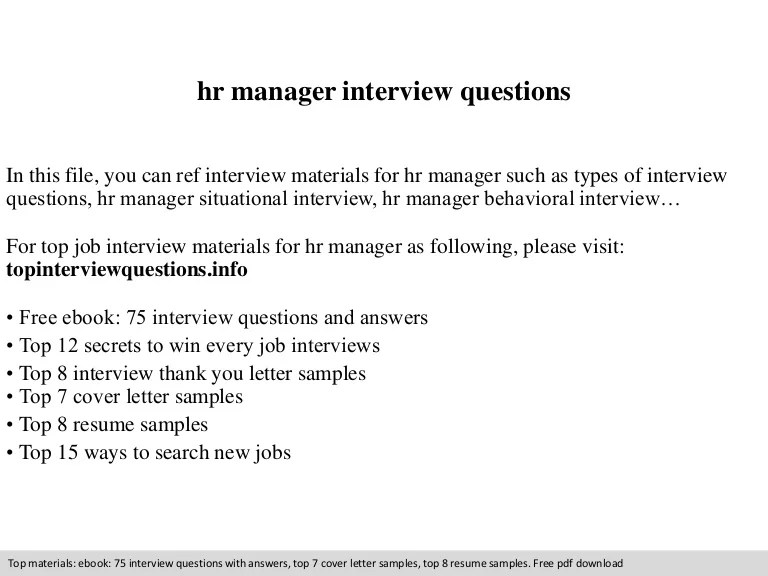 Interview Questions For An Hr Manager dnio
