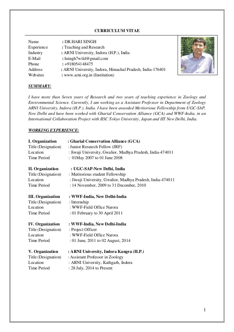 cv presentation pdf