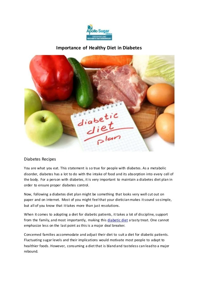 Diabetes Nutrition Importance Of Healthy Diet In Diabetes