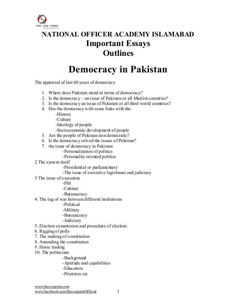 Important Essays Outlines 1