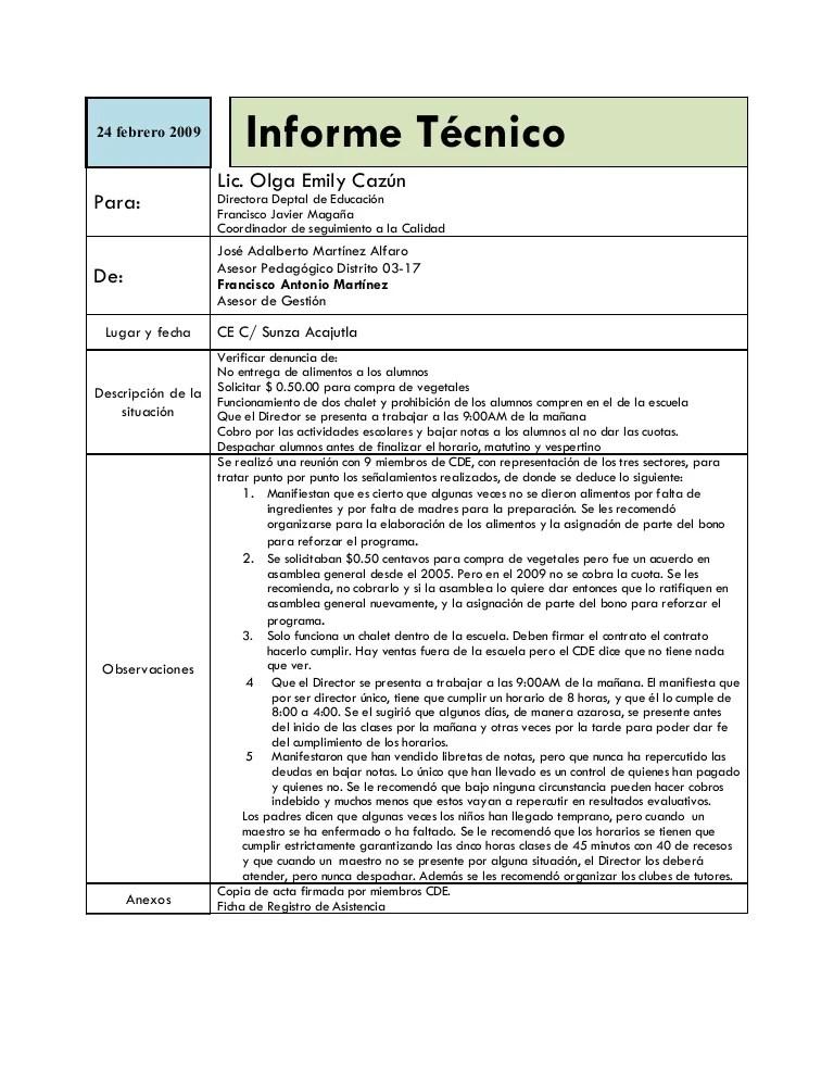 formato de informe escrito