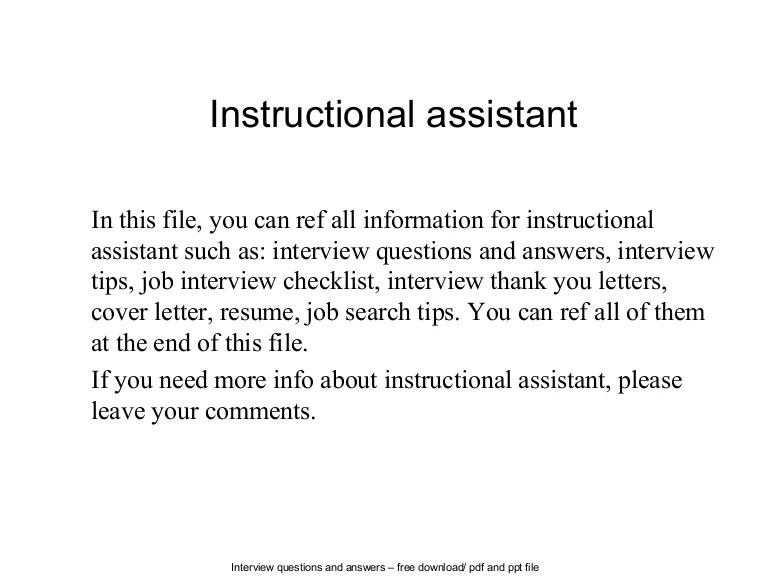 instructional aide cover letter - Demireagdiffusion
