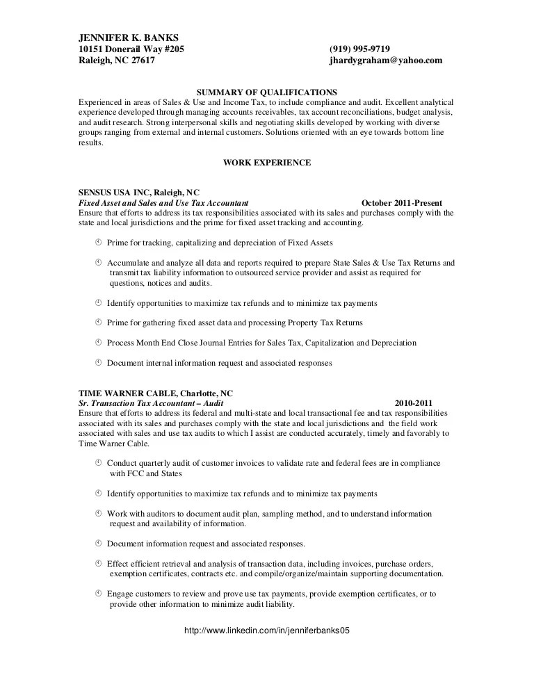 sales tax resume examples