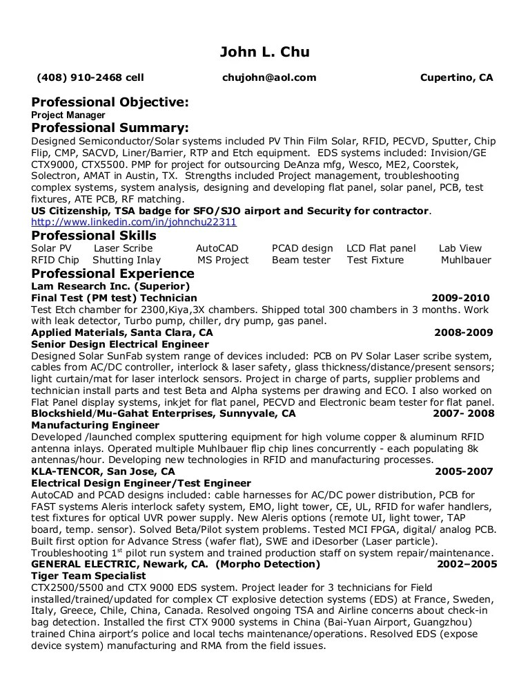 semiconductor resume - Towerssconstruction