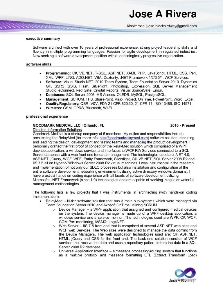 email developer resume