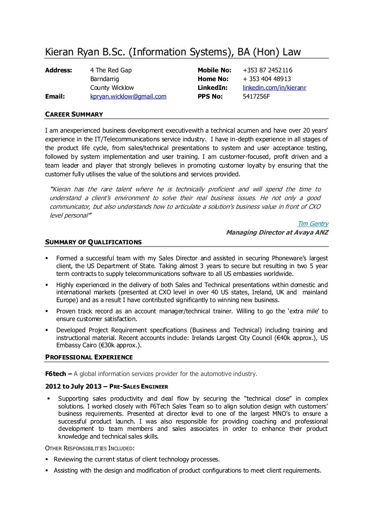 pre sales engineer resume sample