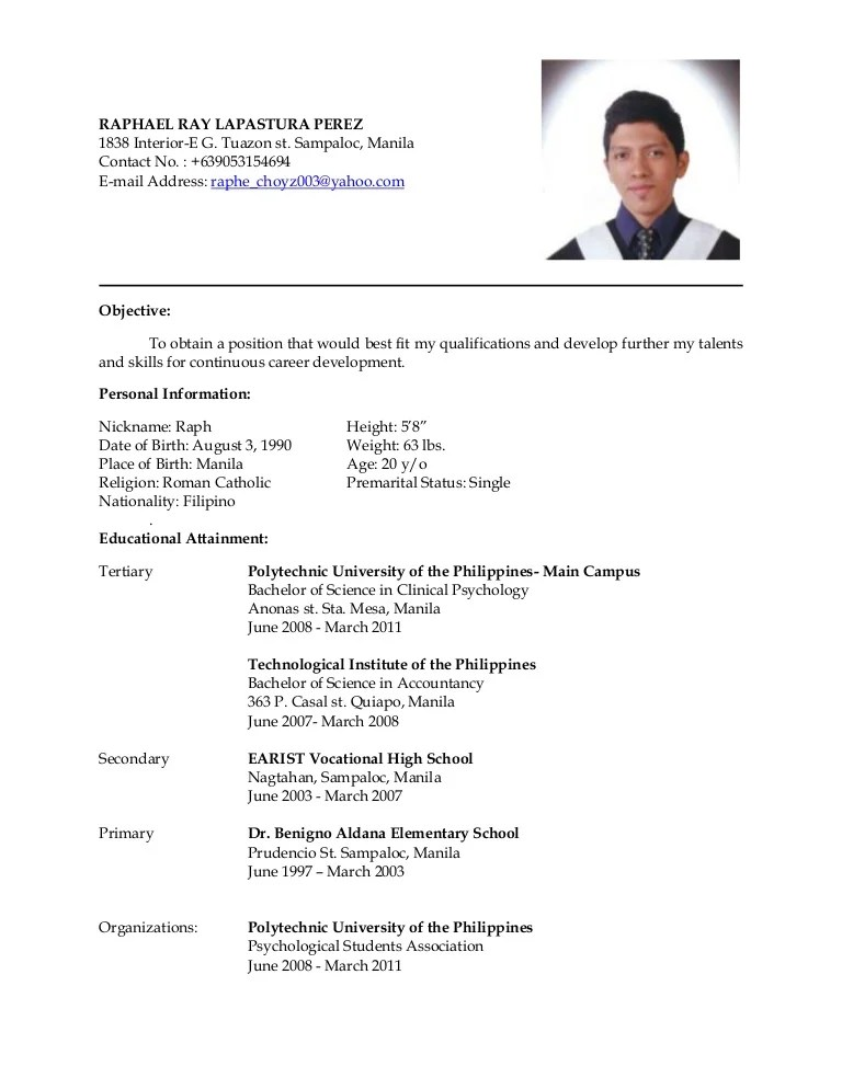 resume english to filipino