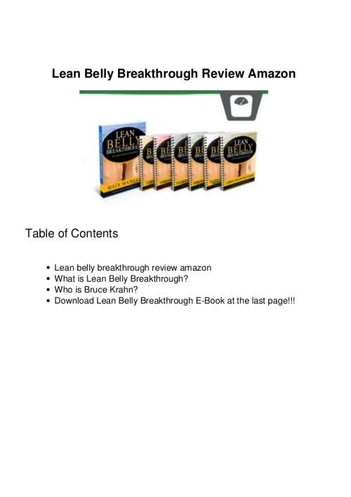Medium Of Lean Belly Breakthrough Reviews
