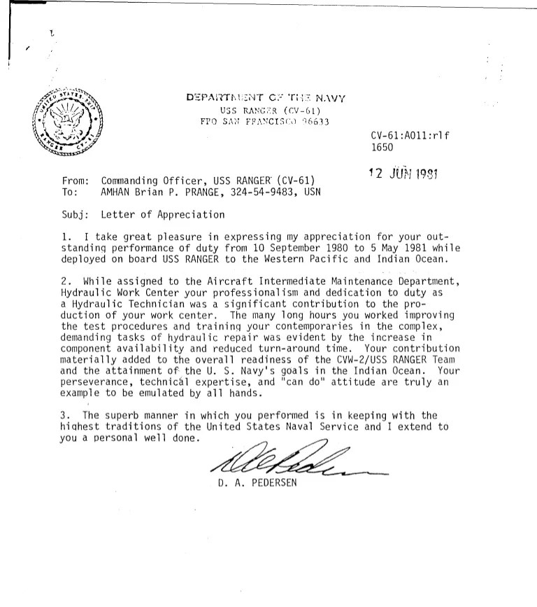 navy letter of recommendation template