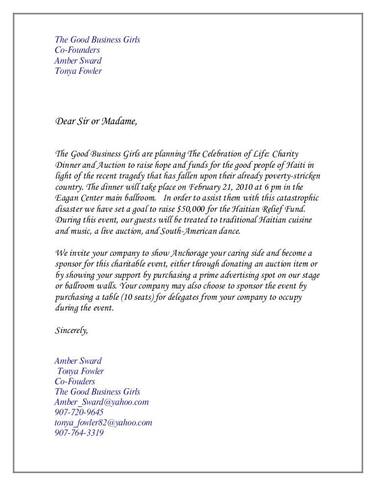 Charity Event Invitation Letter Sample | Invitationswedd.org